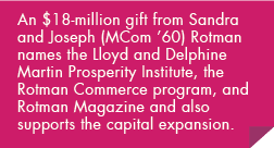 An $18-million gift from Sandra and Joseph (MCom '60) Rotman names the Lloyd and Delphine Martin Prosperity Institute, the Rotman Commerce program, and Rotman Magazine and also supports the capital expansion.