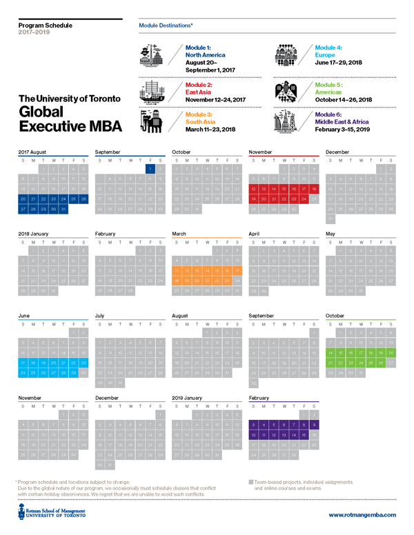 Schedule for Global Executive MBA