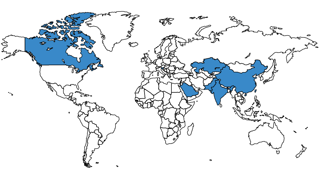 Map of the world highlighting the countries where MFRM students are from